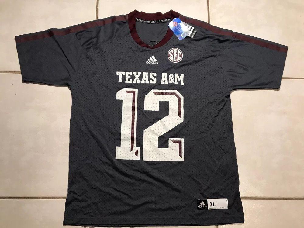 Nwt adidas texas am 12 gray ncaa football jersey mens