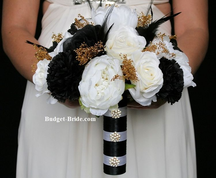 Black, White and Gold Wedding Flowers Bouquet | Black Wedding ...