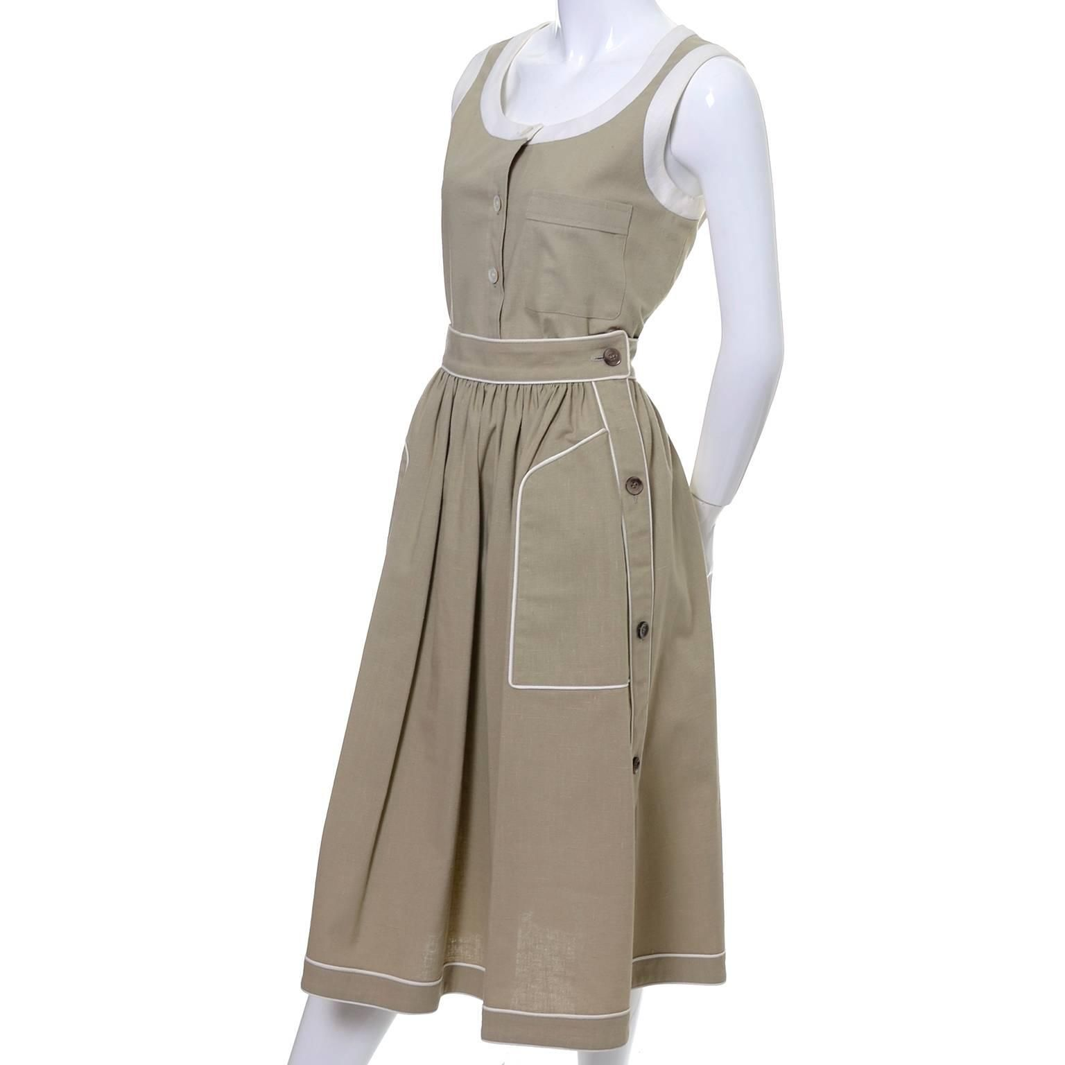 dad54017648 1970s Valentino Vintage 2pc Linen Dress Skirt Top Ensemble Made in France 6  For Sale at 1stdibs