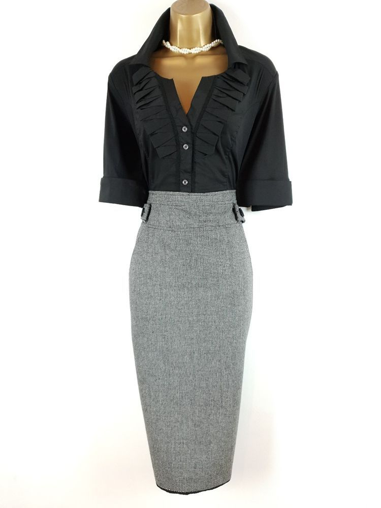 6498e699d3779 KAREN MILLEN Black Grey Wool Blend Dogtooth Tweed Pencil Shirt Dress UK 16  14  fashion