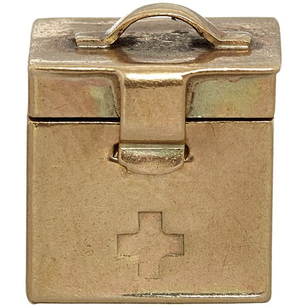Annina Vogel Vintage Gold First Aid Kit Charm ($385) ❤ liked on Polyvore featuring jewelry, pendants, gold cross charm, cross bracelet, gold bracelet charms, vintage bracelet and bracelet charms