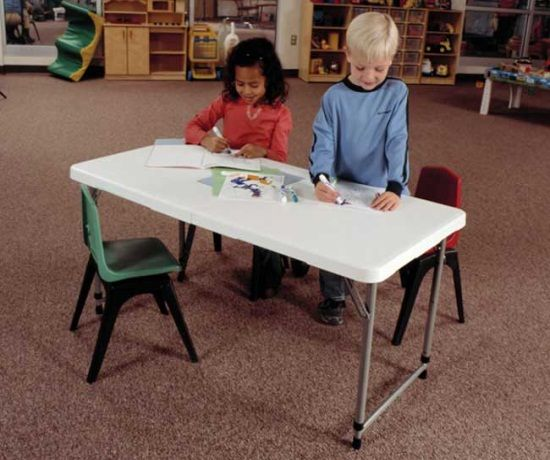 Lifetime Adjustable Leg Table  Foot Fold In Half Folding Table This Picture Shows Two Kids Coloring At The Table