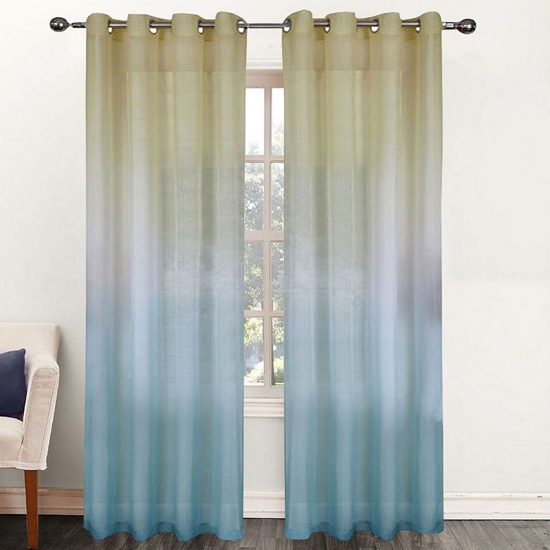 Single Window Curtain Panel Sheer Ombre Rainbow 52w X 84l Curtains Curtain Decor Panel Curtains