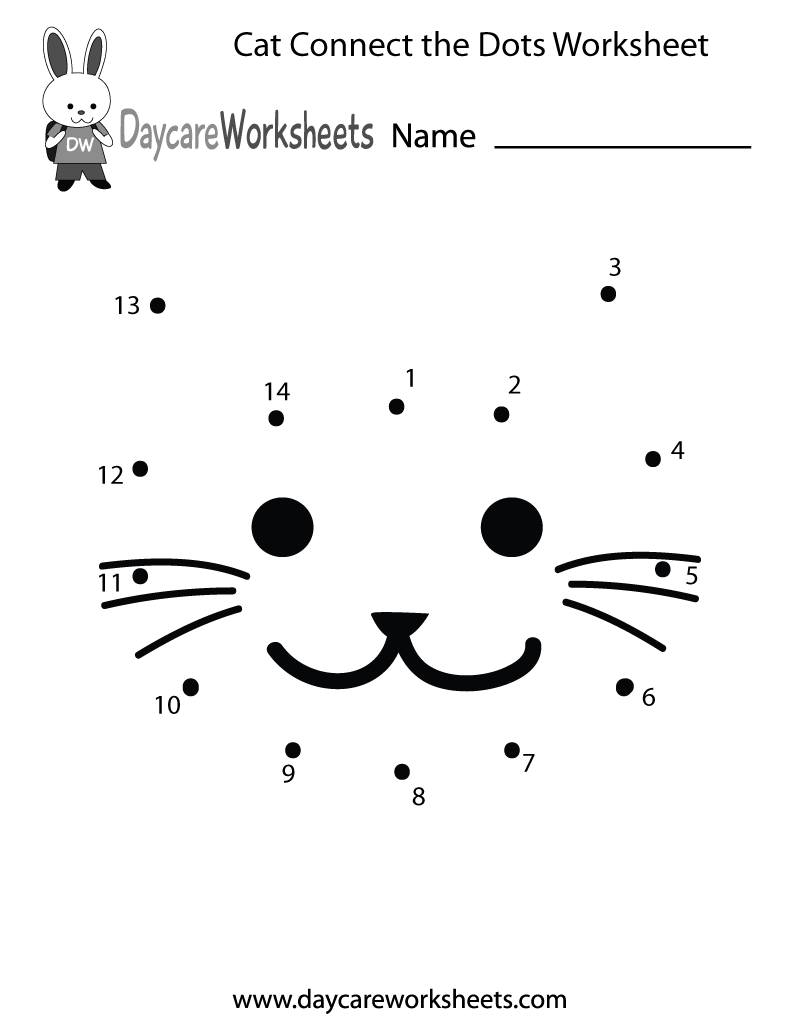 preschoolers can connect the dots to make a cat in this free activity worksheet