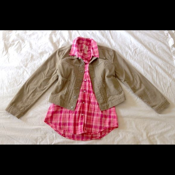 Levi's bundle! NWOT, Plaid shirt & jacket Great deal! Both items are new without tags, never worn! Corduroy jacket plus pink plaid button up shirt / blouse. Both size small. Perfect combination! Levi's Jackets & Coats