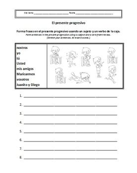 Spanish Present Progressive Worksheets (El presente progresivo ...