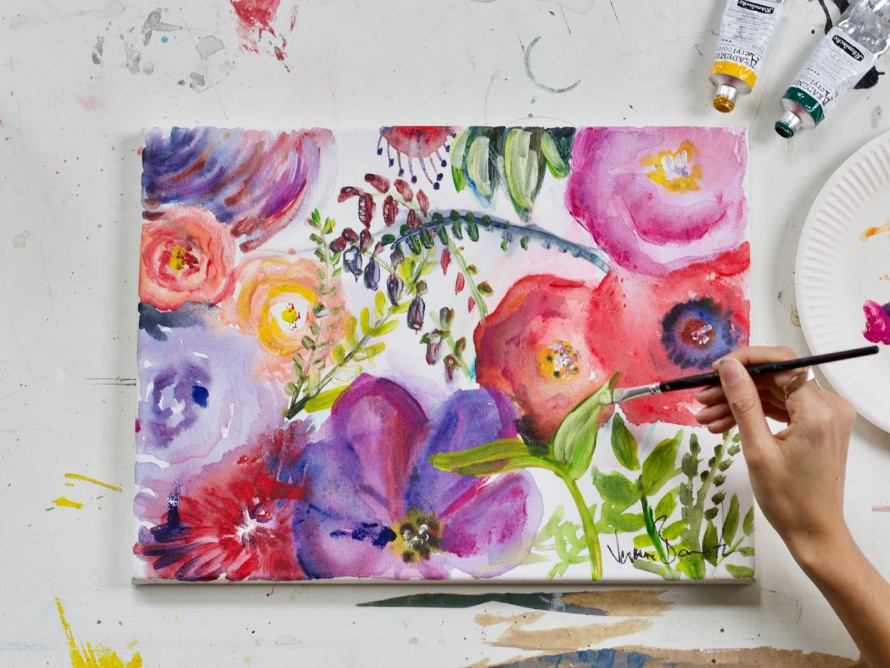 Blumenwiese Malen Mit Acryl Einfache Anleitung Blumen Malen Acryl Malen Blumen Malen Acryl