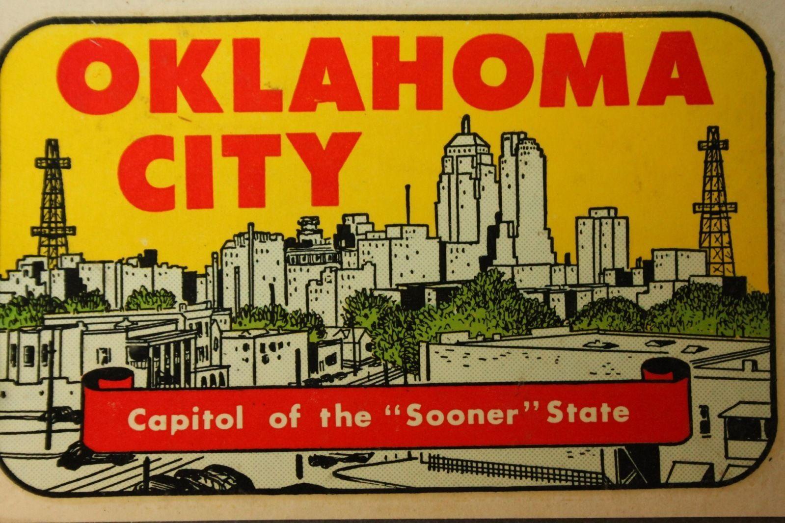 Vintage old u s state travel luggage sticker oklahoma city l3 ebay