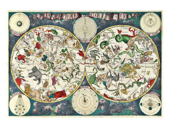 De Wits Planisphaeri Coeleste Astronomy Art Print Vintage
