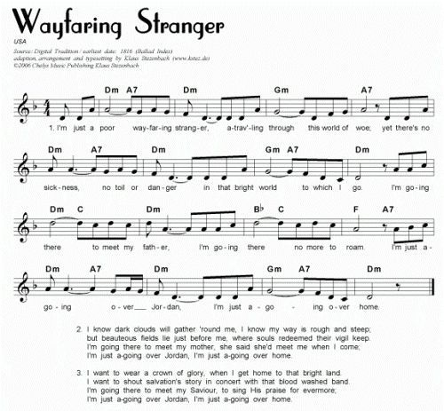 THE POOR WAYFARING STRANGER: » for adult piano students -- harmonize ...