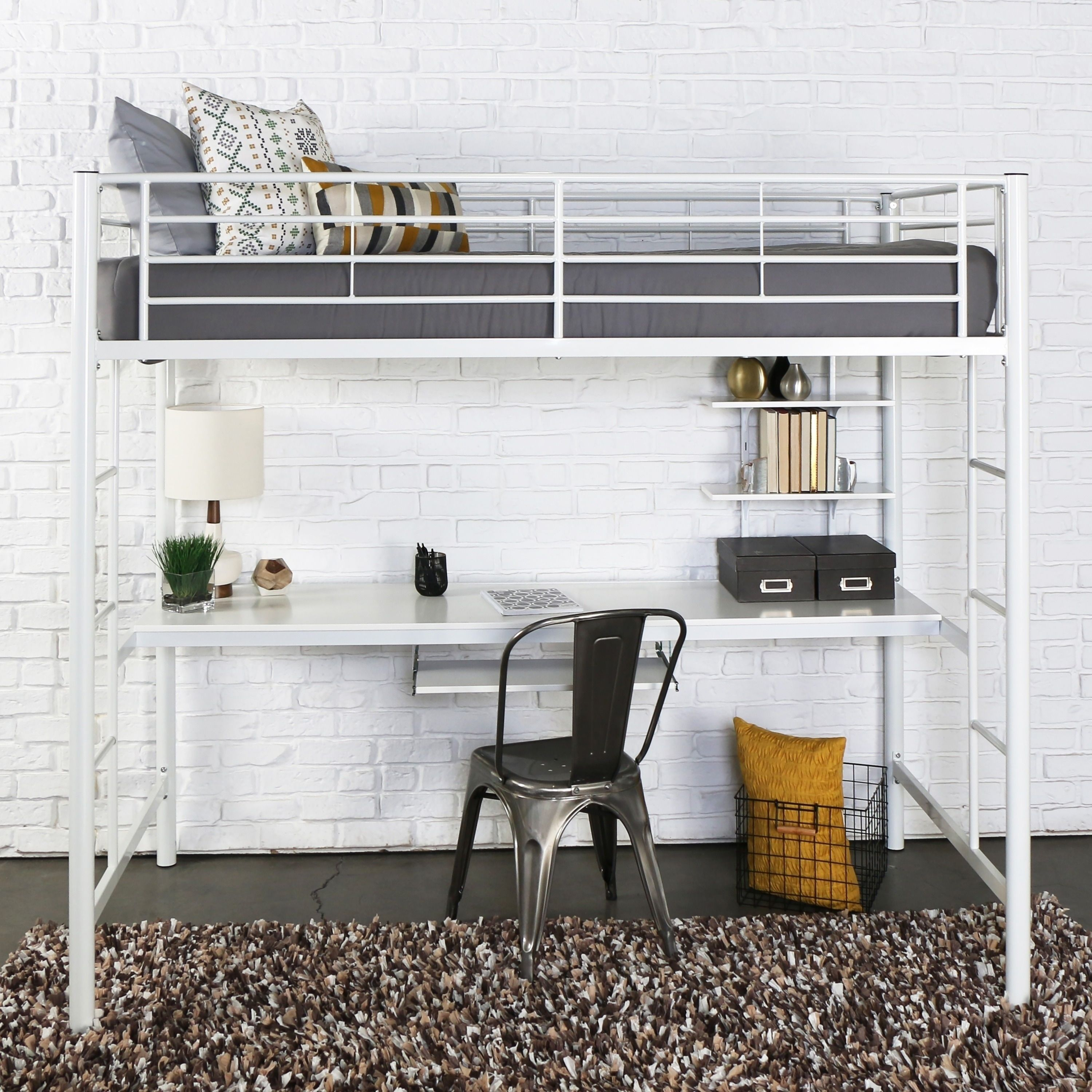 Loft bed with desk cheap  White Metal Twin Bunk Bed with Desk  Products  Pinterest  Bunk
