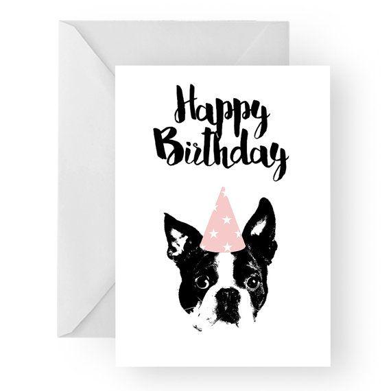 Boston Terrier Blank Birthday Card Boston Terrier Greeting Card