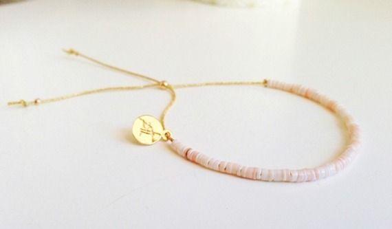 Bracelet rondelles de Nacre blanc/rose