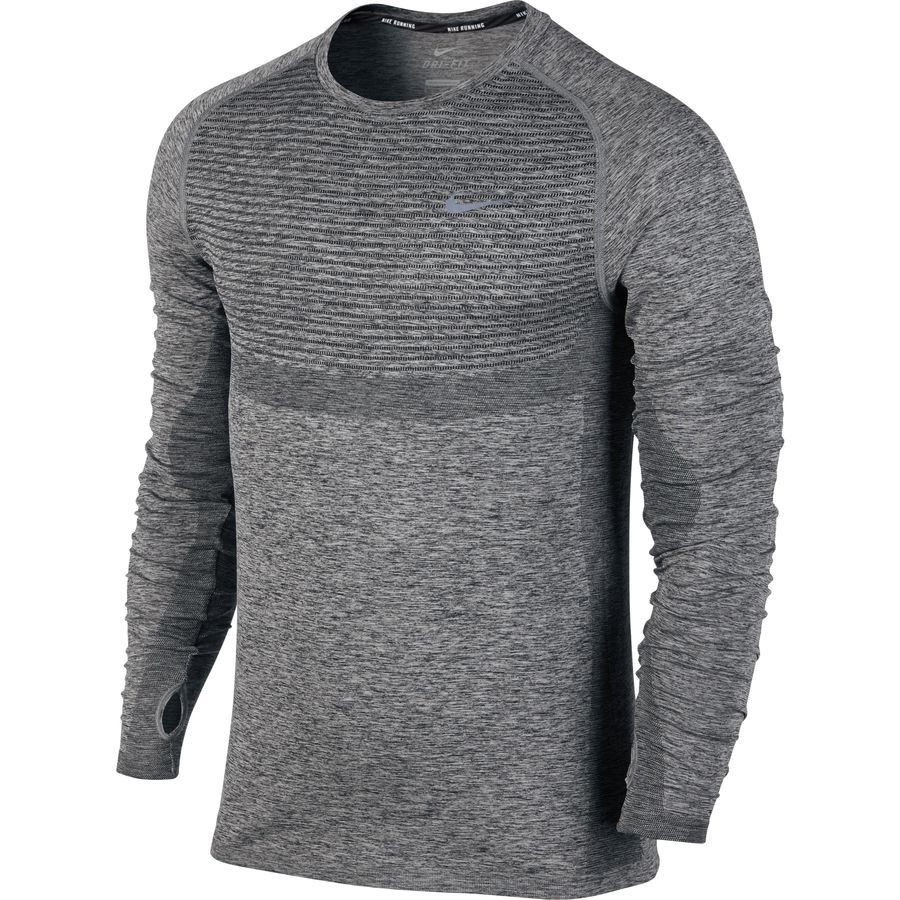 nike dri fit knit long sleeve running shirt, Nike