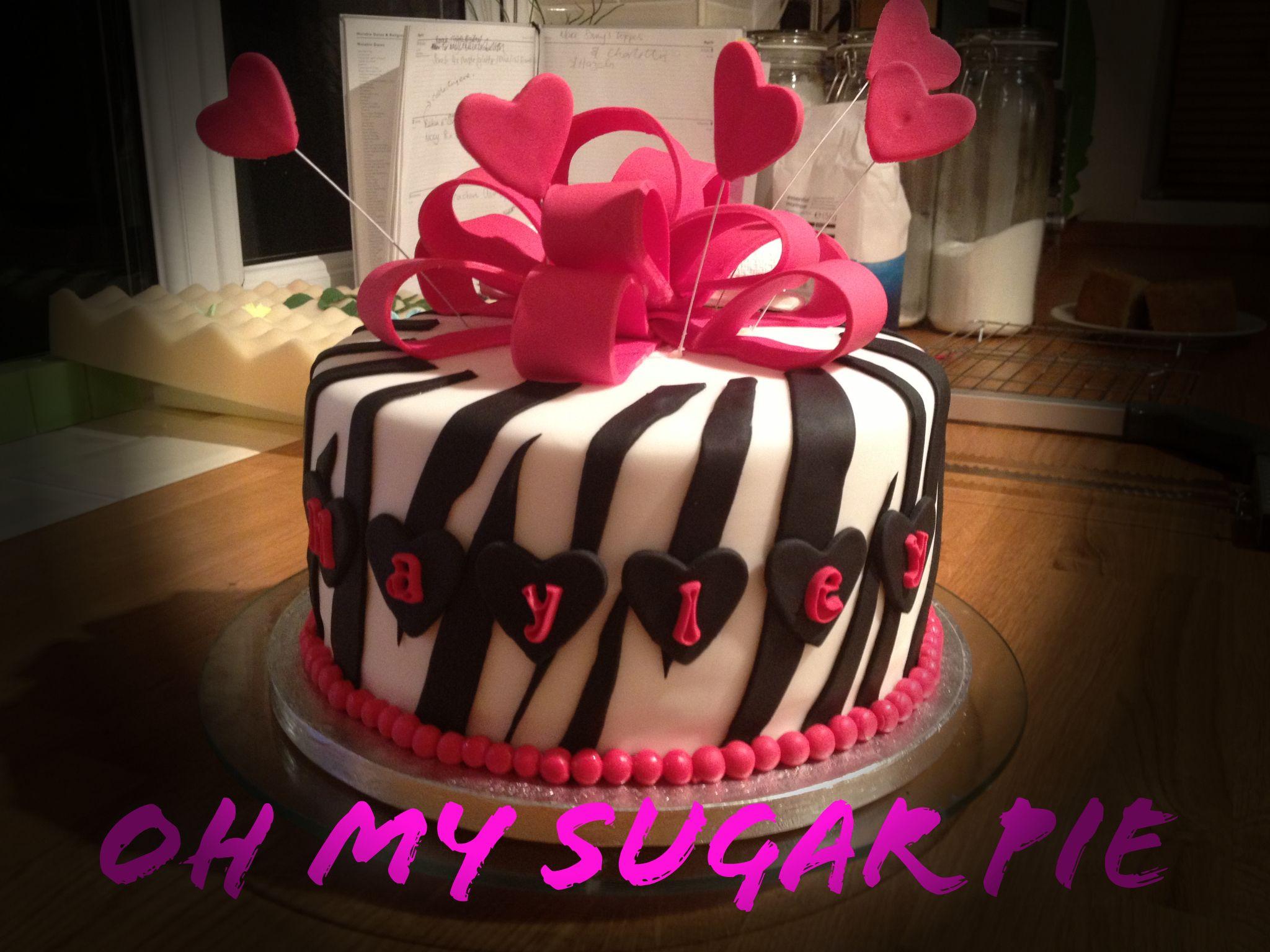 Girly Birthday Cake by OH MY Sugar Pie x #girly #pink #zebra #stripe #bows #ribbon #hearts #birthday #cake
