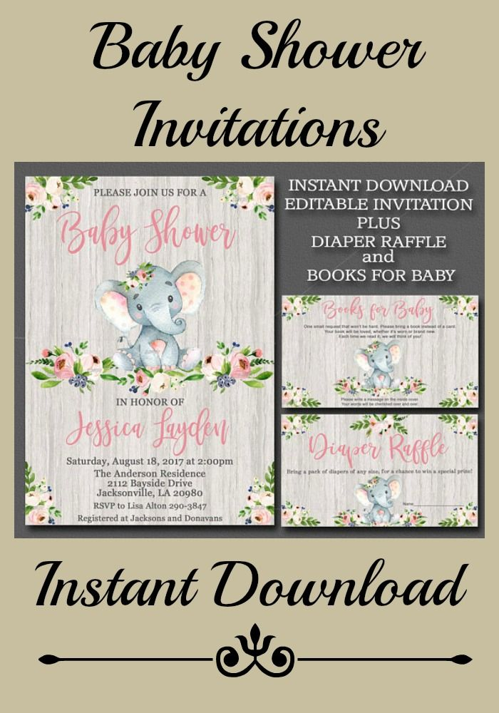 Lovely Baby Girl Editable Instant Download Baby Shower Invitations