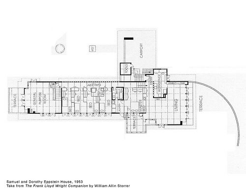 Samuel and Dorothy Eppstein House Plan 1953 Frank Lloyd Wright