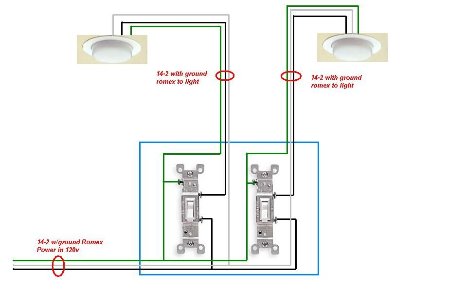 14+ 2 gang 2 way switch wiring information