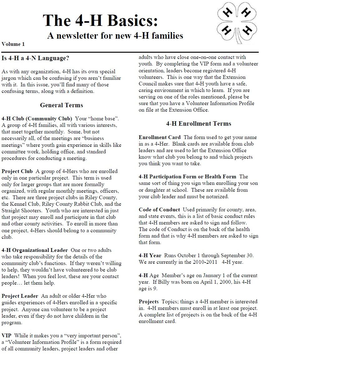 The 4 H Basics A Newsletter For New 4 H Families For The Full