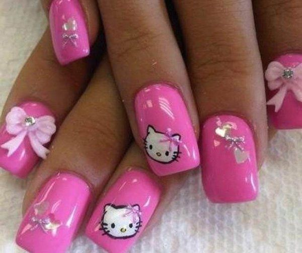50 hello kitty nail designs plain pink background hello kitty 50 hello kitty nail designs prinsesfo Image collections