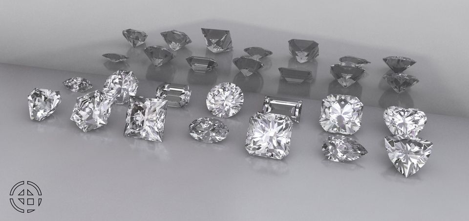 10 GEMSTONE SHAPES - KeyShot,Rhino,SOLIDWORKS - 3D CAD model