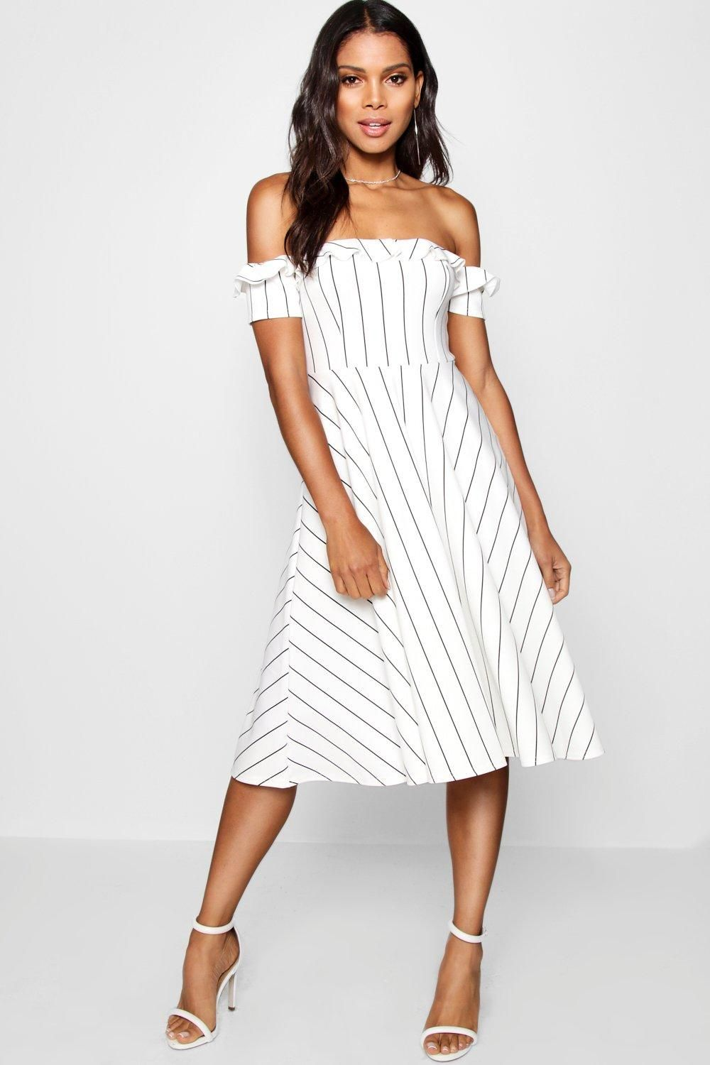 Click here to find out about the Off the Shoulder Stripe Midi Skater Dress  from Boohoo ad0bc087d