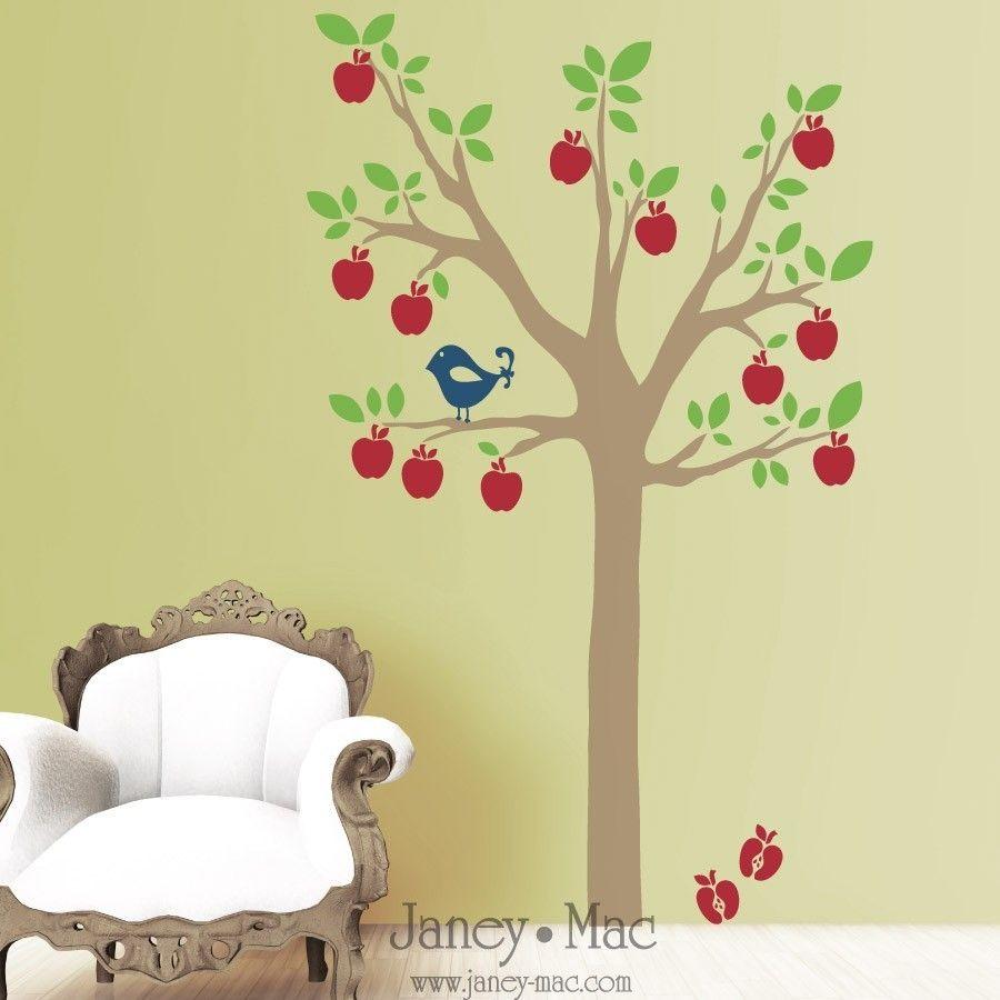 Apple Tree Wall Decal with Bird - Modern Children Bedroom Nursery ...