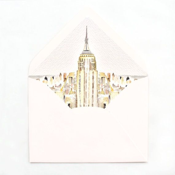 New York City Envelope Liner NYC Watercolor by EVRPaperCo on Etsy