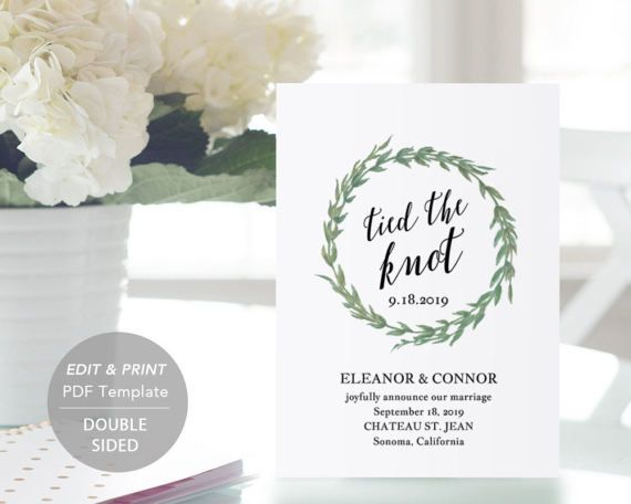 Printable Wedding Announcement Template by SmittenPaperProps - wedding announcement template