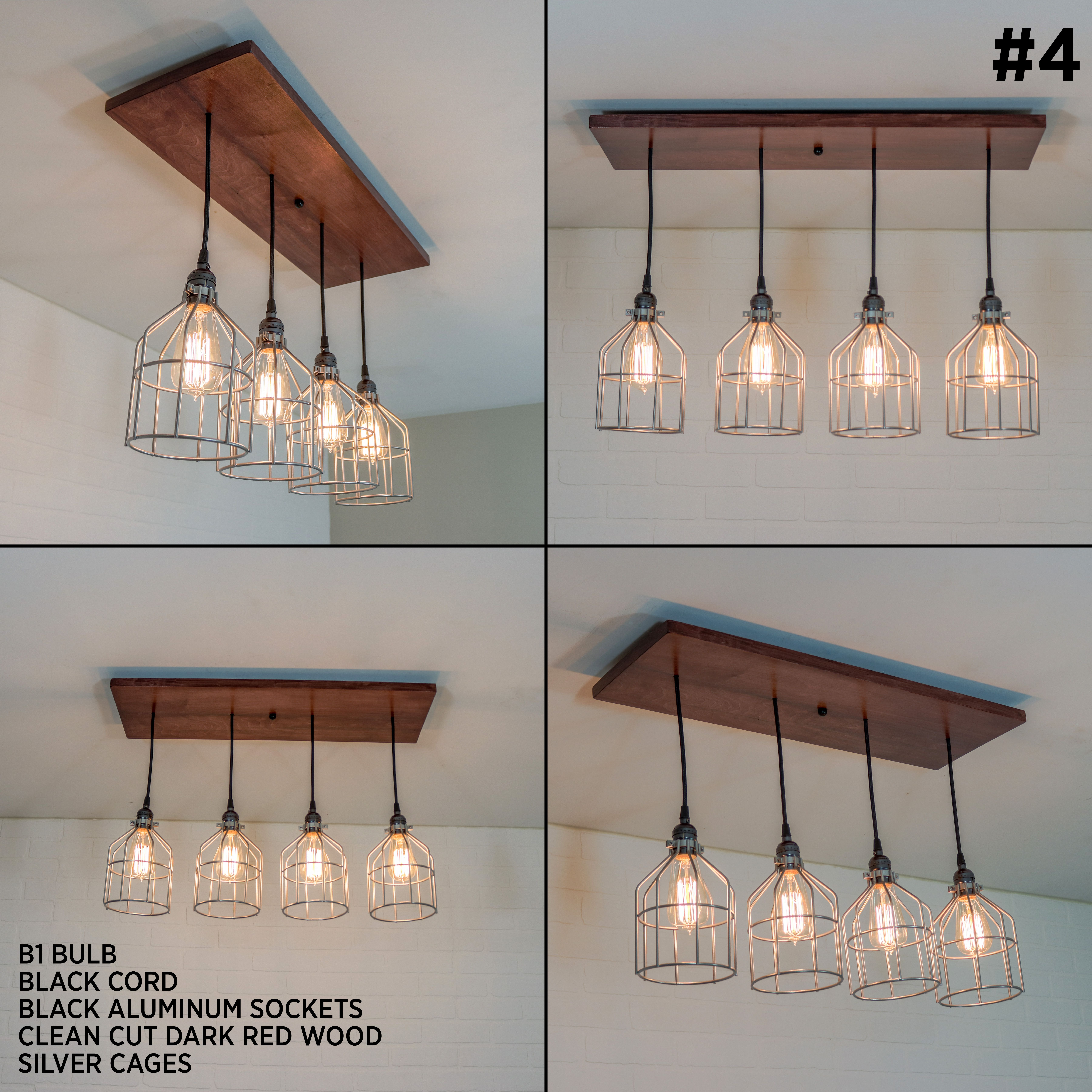 Kitchen Island Lighting Fixture Rustic Ceiling Chandelier Edison Pendant Light With 4 Pendants Wood Kitchen Lighting Fixture Rustic Light Fixtures Lighting Fixtures Kitchen Island Wood Ceiling Lights