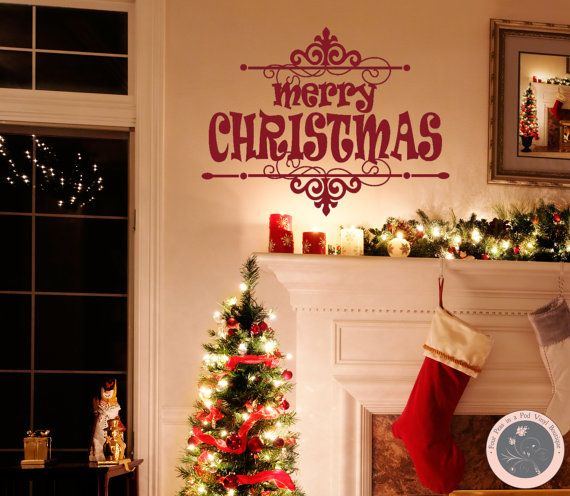 christmas wal decal christmas wall art by fourpeasinapodvinyl 1615