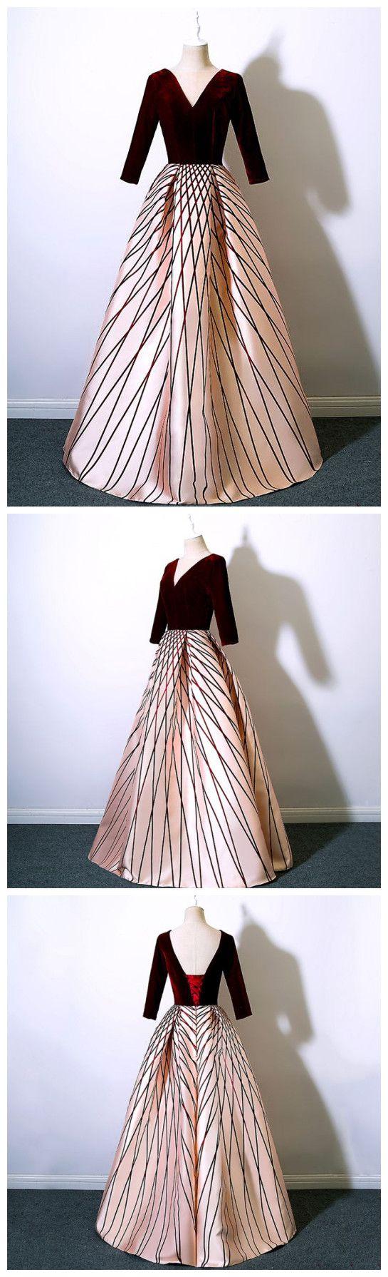 burgundy prom dresses aline v neck satin long prom dress