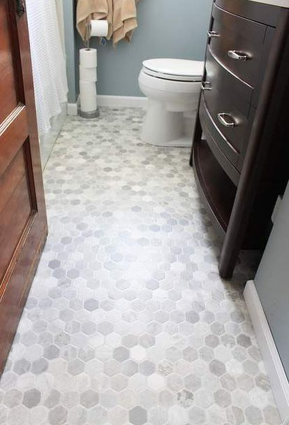 She Rolls It Out Cuts It Out And 90 Minutes Later She Has This Captivating Small Bathroom Flooring Design Decoration