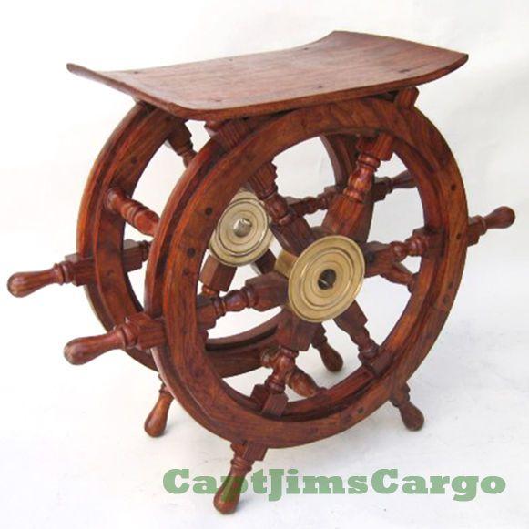 Ships Boat Steering Wheel Teak Wood 20 End Table Nautical Decor Furniture