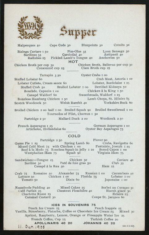 MENU Supper menu at the Waldorf-Astoria, 1905 New York as It - french menu