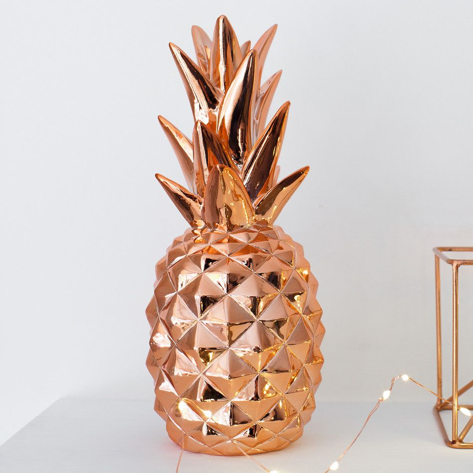 Rose gold metallic pineapple ornament rose gold for Ananas dekoration