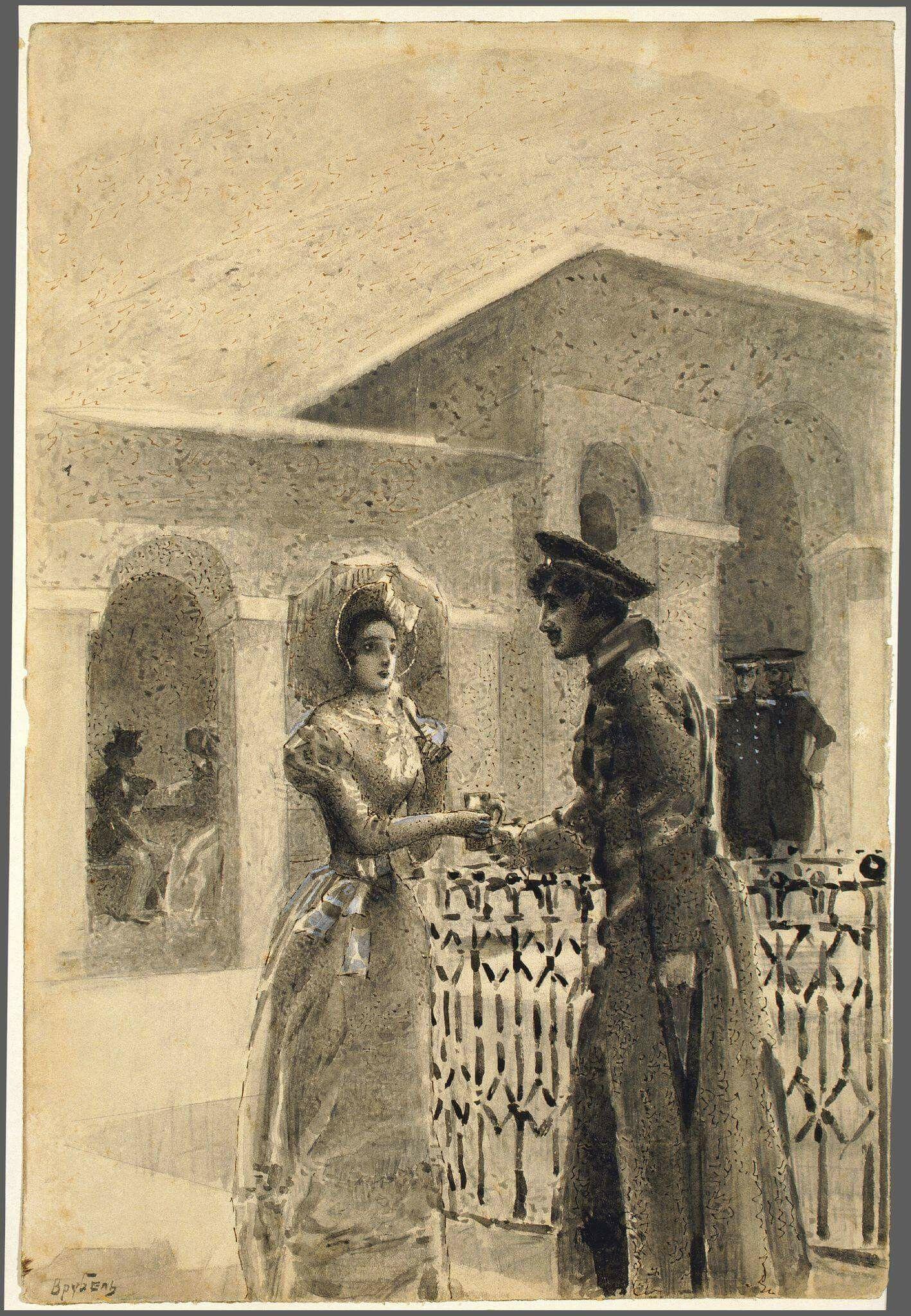 Врубель М.А. Княжна Мери и Грушницкий. 1890-1891 Эскиз ...  Княжна Мери Рисунок