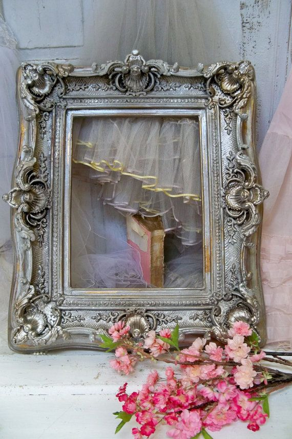 Large Pink cream frame shabby chic ornate wood distressed gold ...