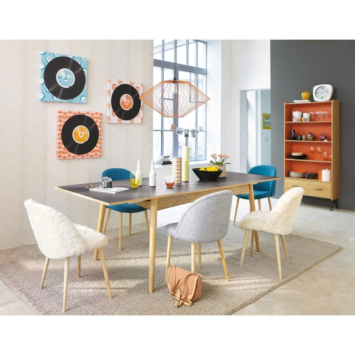 Table rectangulaire en bois clair chaises scandinaves et suspension - Table Rectangulaire Rallonge Gris Anthracite Boop
