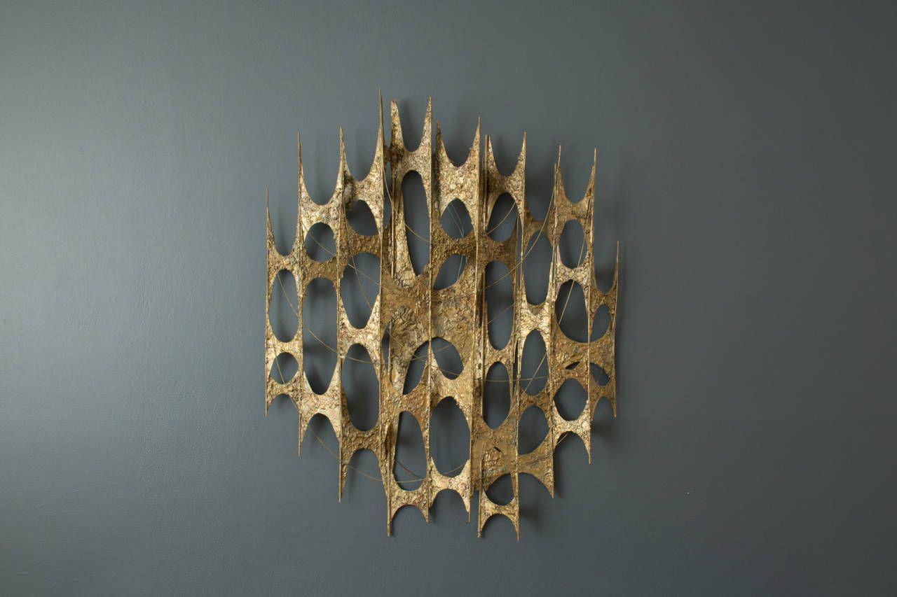 Mid Century Modern Gold Metal Wall Sculpture In 2019 Screen Ideas