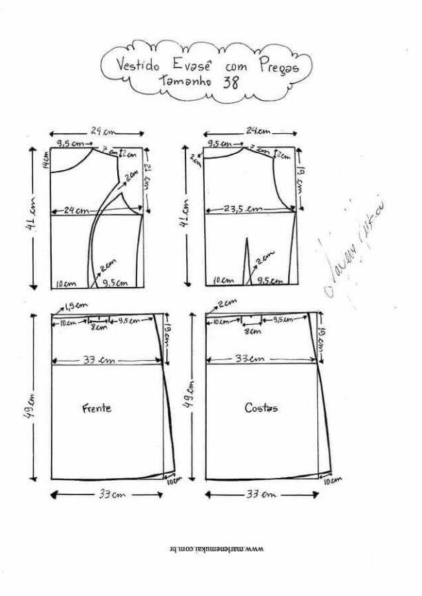 Vestido acampanado con pliegues | patrones | Pinterest | Vestidos ...