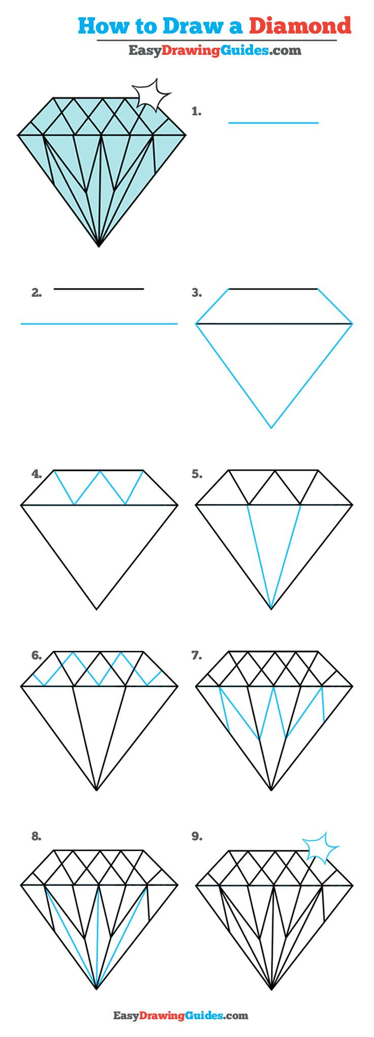 how to draw a diamond easy