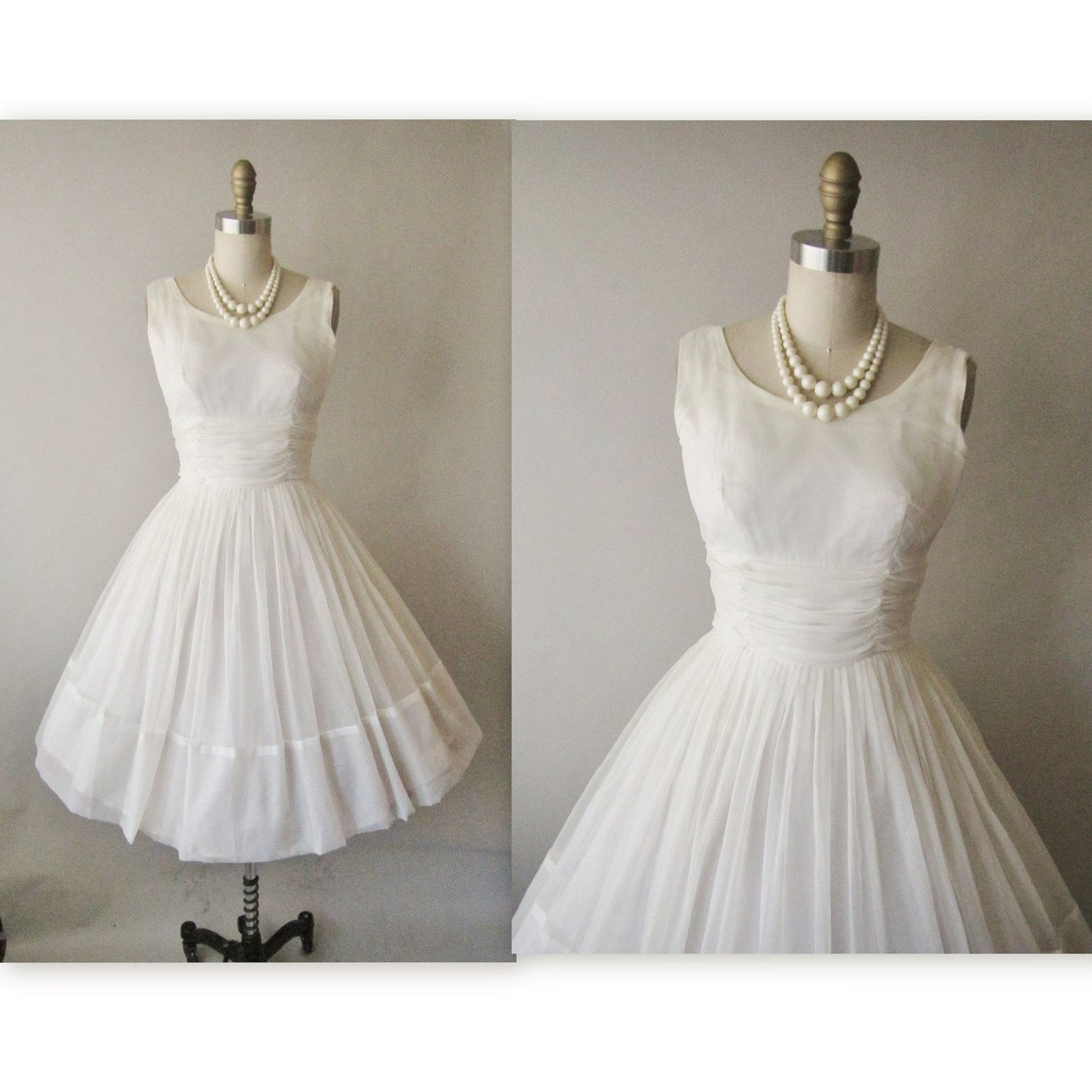 Vintage1950s Chiffon Tea Length Wedding Dress
