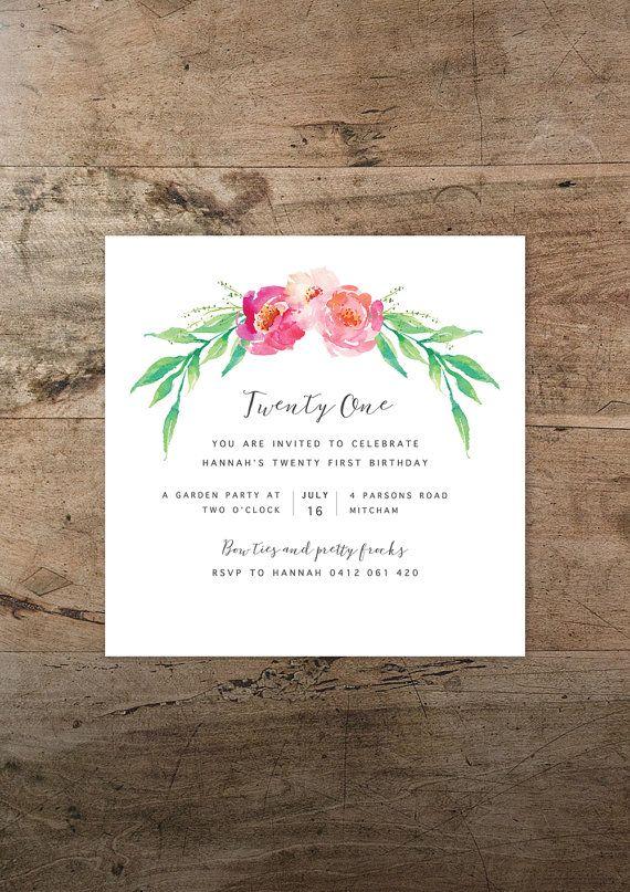 Twenty First Birthday Invitation Printable Floral Bohemian Watercolour Rustic 21st