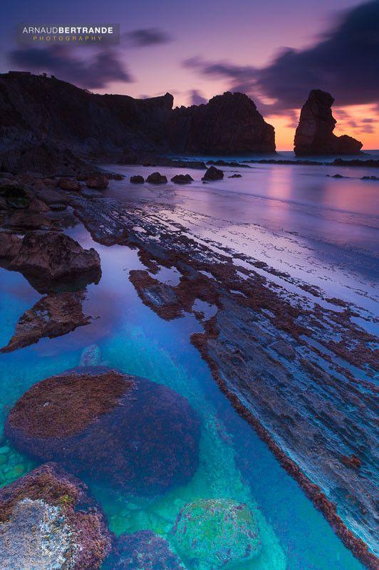 Playa de Arnia at twilight ~ Cantabria, Spain