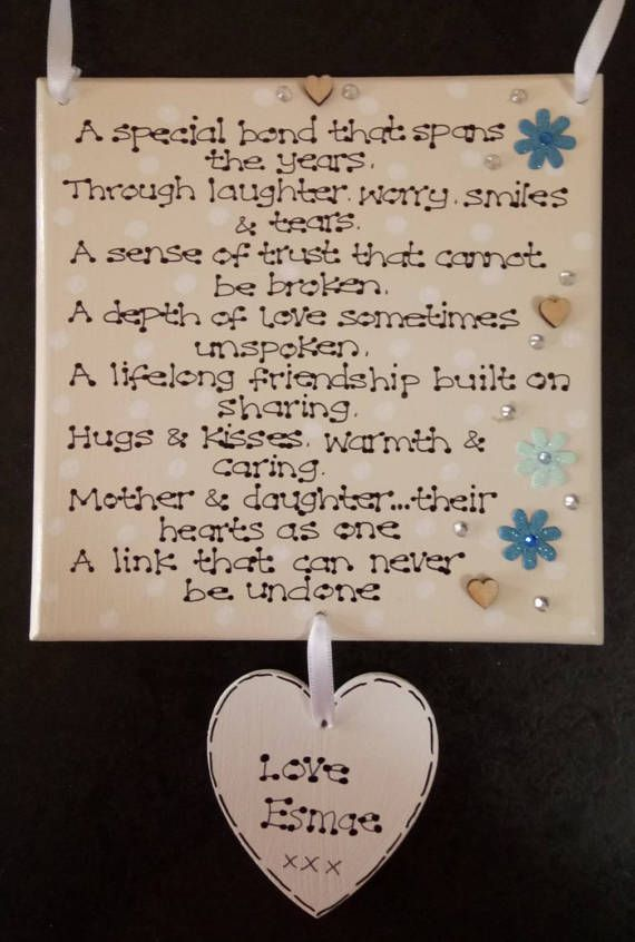 Personalised Special Mother Daughter Bond Love Poem Mothers Day