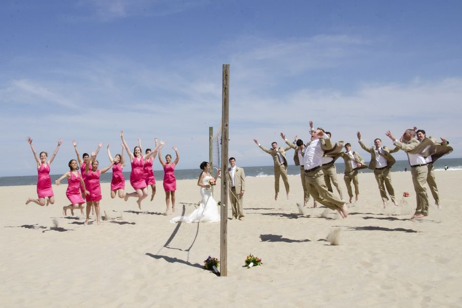 Fun Beach Wedding Party Portraits From A Hot Pink Themed Ocean City MD
