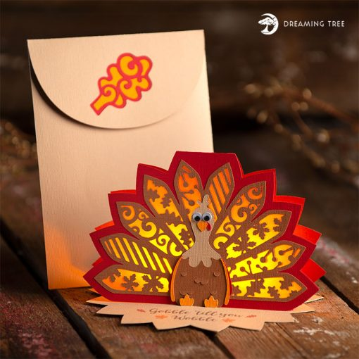 Turkey Tea Light Card (Free SVG) Thanksgiving place