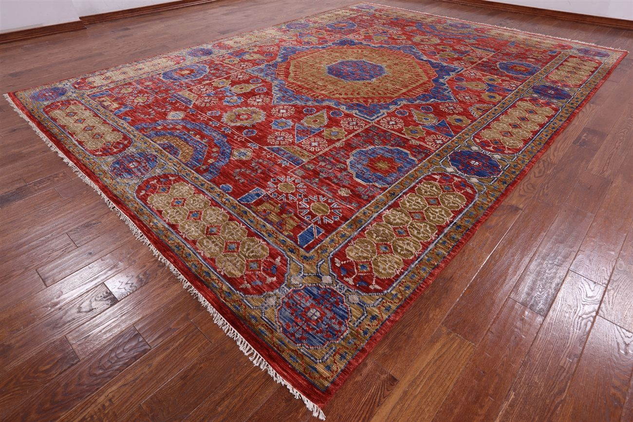 Mamluk Hand Knotted Wool Rug 10 X 14 In 2020 Wool Rug Rugs Hand Knotted
