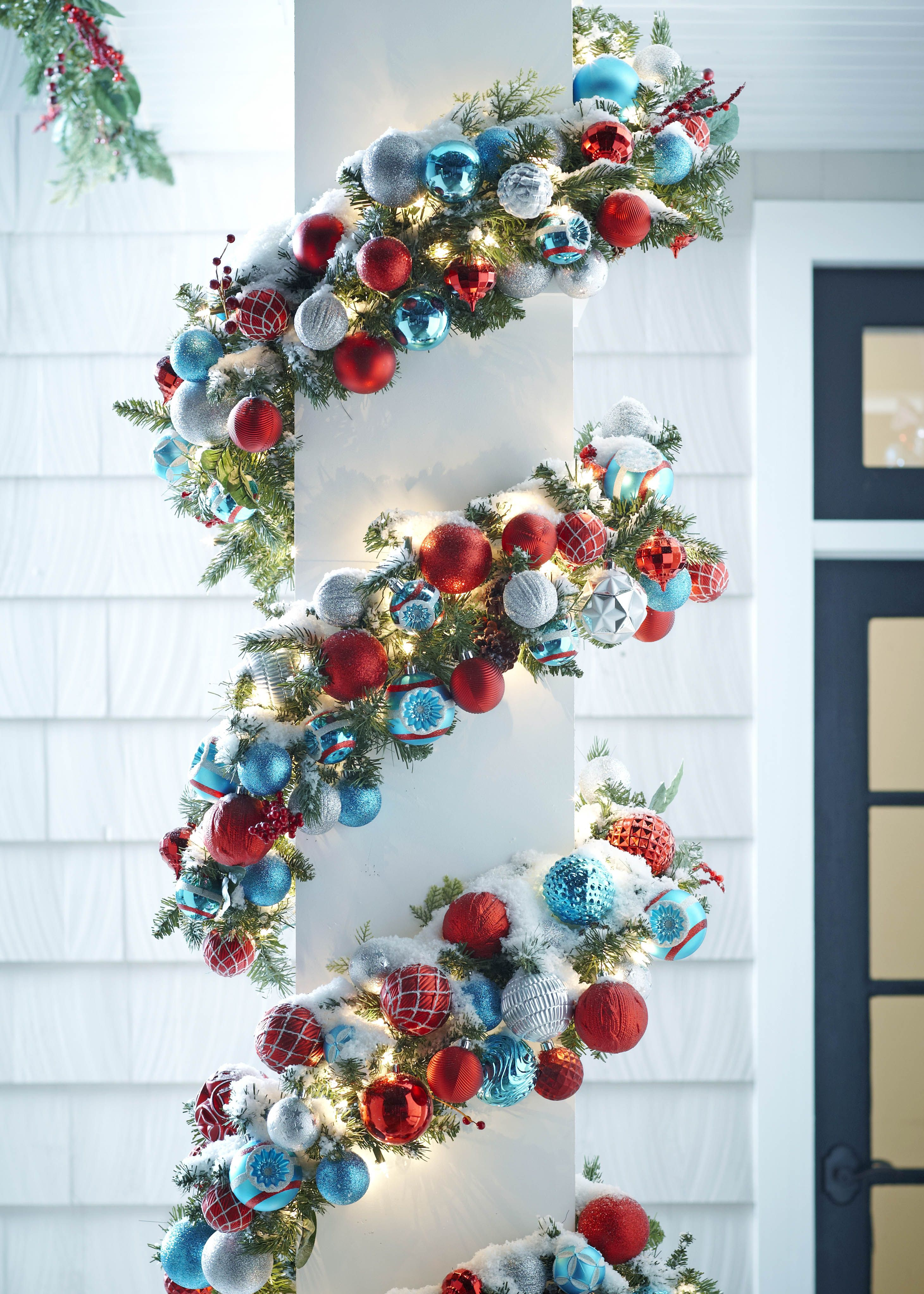 Add Shatterproof Ornaments With Wire To Pre Lit Garland For An Easy Outdoor Diy Get More From Marthastewartliving A Christmas Diy Christmas Glitter Christmas